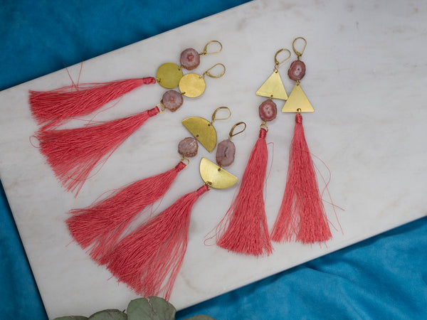 Aine asymmetric coral pink tassel golden tone brass earrings