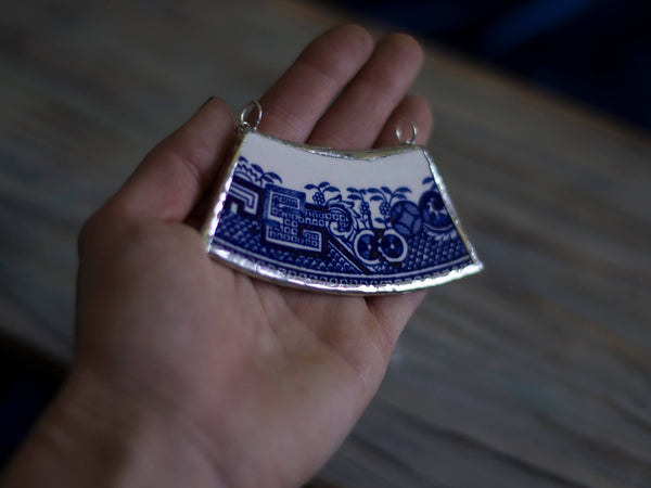 Meinu Large vintage Bone china upcycled pendant