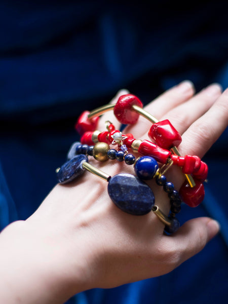 Bohemia Two layers chunky gemstones bracelets Coral or Lapis Lazuli