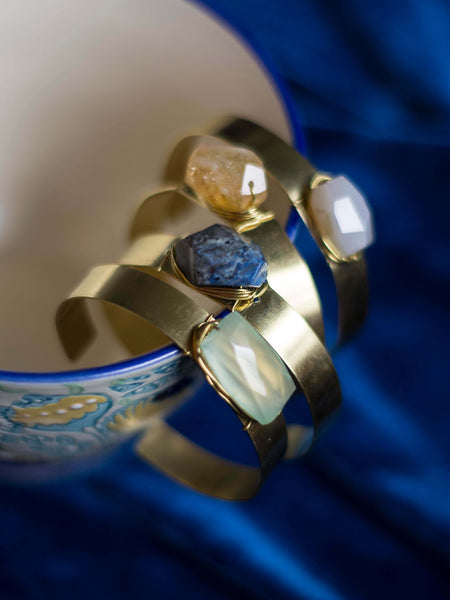 Summer Brass cuff bracelet with gemstone