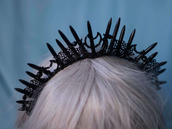 Black moonlight  gothic halo crown with spiky crystals