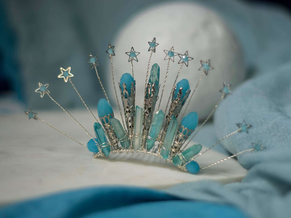 Blue starfall silver mini crown on comb with aqua aura quartz