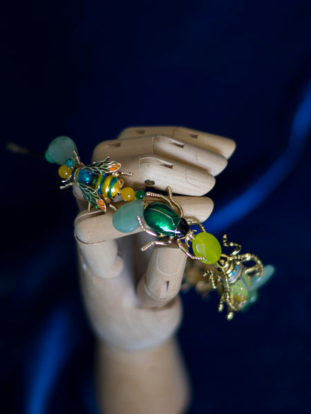 Beetle to Bee green tiara with gemstones