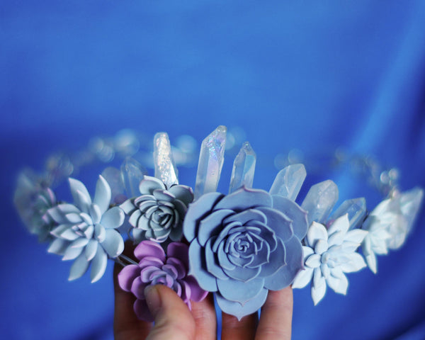 Succulents and crystals full head crown