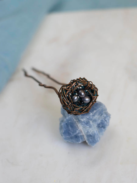 Nest copper hairpin with natural fresh water pearls