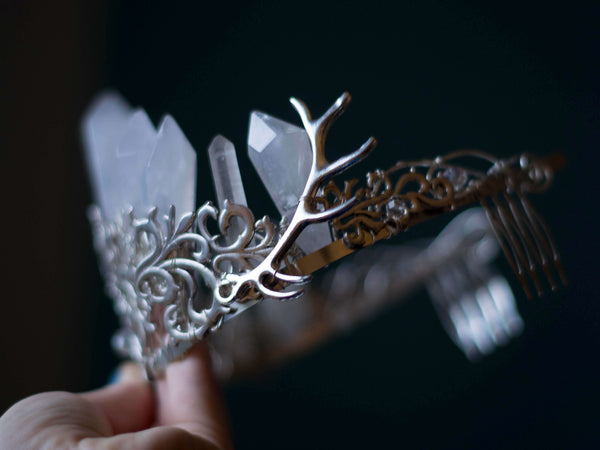 Antlers and lace custom silver filled crown and haircomb with quartz points