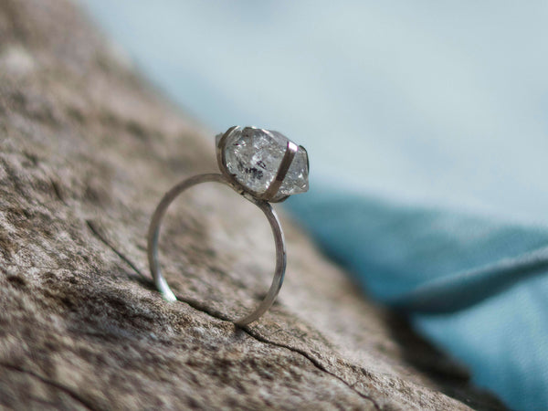 Vanity herkimer diamond  silver ring - MoonDome - 3