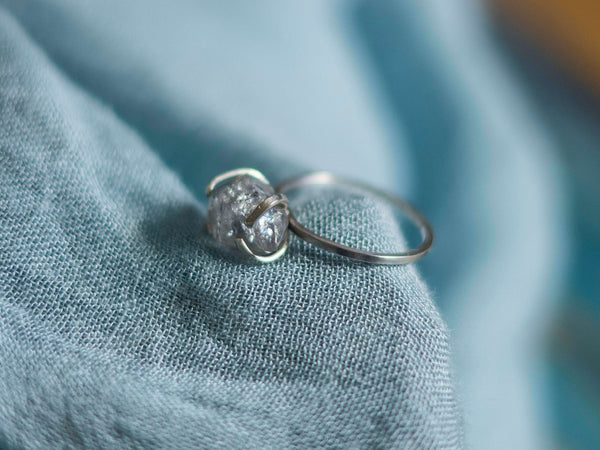 Vanity herkimer diamond  silver ring - MoonDome - 4