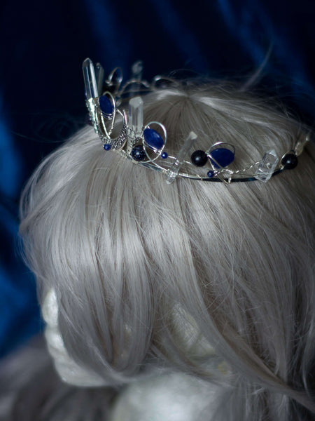 Blue night Sapphires and moons  custom silver filled crown with quartz points