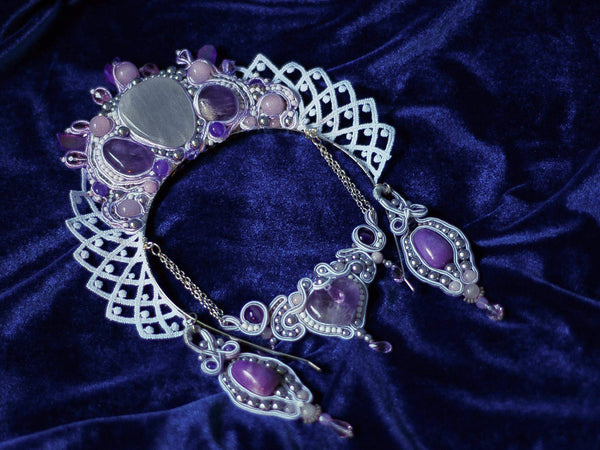 Anna Quartz embroidered crown with purple quartz and gray pearls