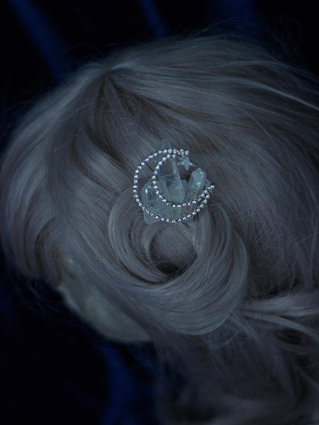Diamonds Crescent moon Silver hair comb with aura quartz
