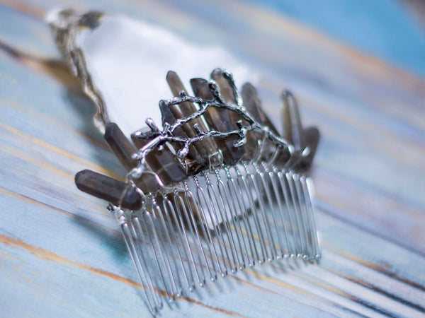 Woodland goddess quartz hair comb with silver twig