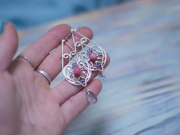 Amanda silver wire art swirls dangle earrings with pink agate and amethyst