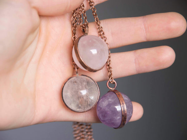 LaLuna Orb Crystal Globe pendant in Amethysth, Rose and Clear Quartz - MoonDome - 2