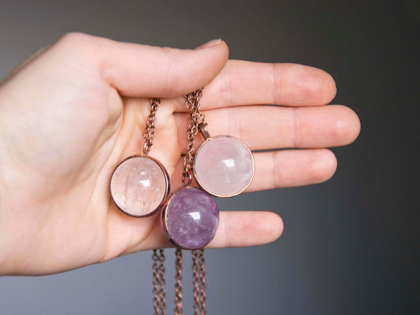 LaLuna Orb Crystal Globe pendant in Amethysth, Rose and Clear Quartz - MoonDome - 3