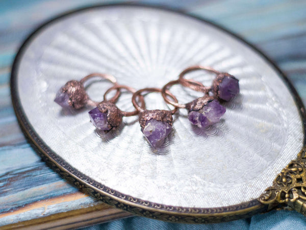 Mystical raw amethyst statement copper rings