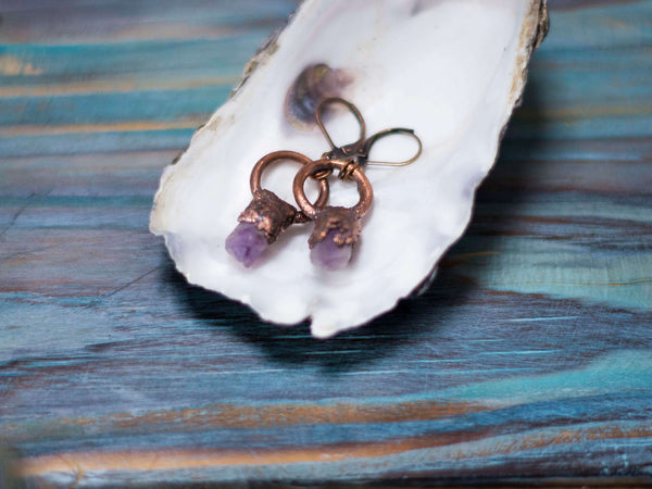 Mystical amethyst  small circle raw crystal earrings