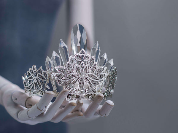 Arana silver lace and crystals points statement bridal crown