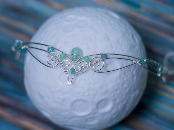 Elvish Celtic circlet with aqua blue chalcedony