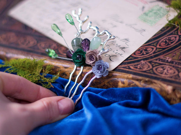 Eostre bridal hair comb with blossoms and crystals