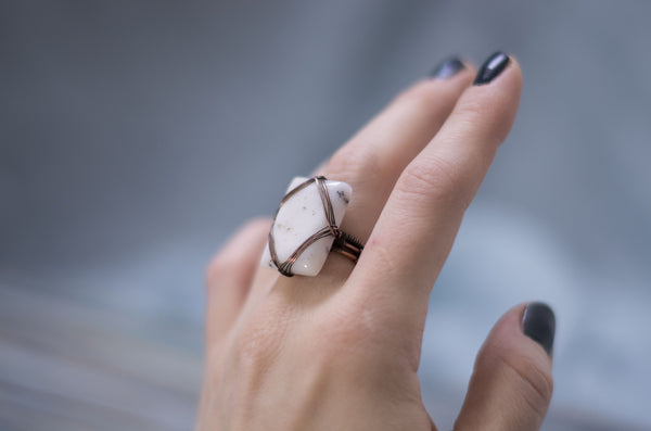 Sacred Geo Merlinite geometrical copper wire wrapped ring