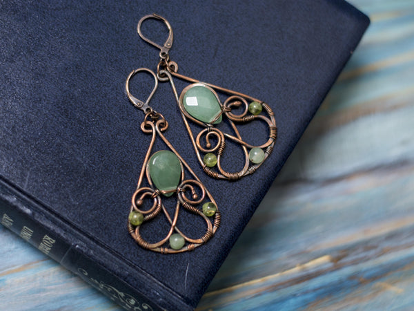 Ariadna copper wire art swirls dangle earrings with green avanturine
