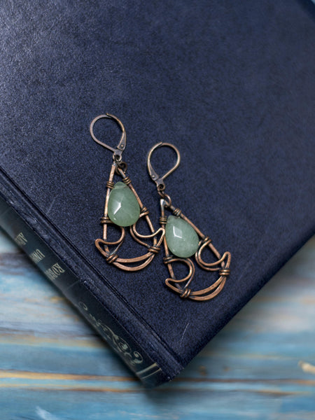 Christina copper wire art swirls dangle earrings with green avanturine