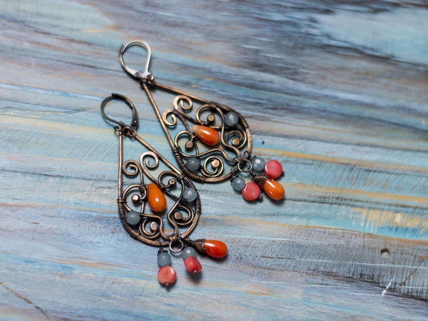Cecilia copper dangle swirls earrings with coral beads