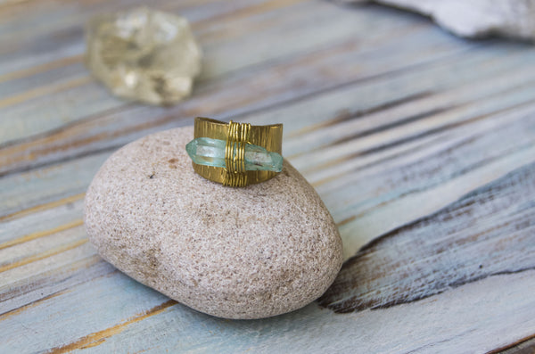 Aquria blue aura quartz brass ring - MoonDome - 1