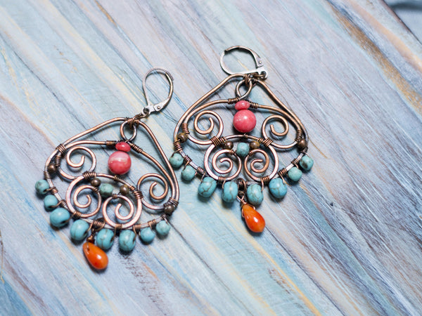 Majesta copper wire art swirls dangle earrings with turquoise and coral beads
