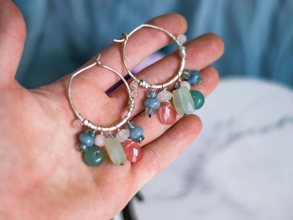 Pastel crystals hoop silver earrings