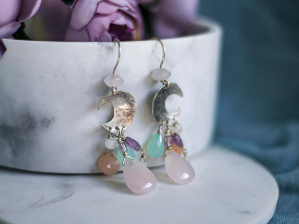 Moon rain pastel crystals earrings with rose quartz and blue opals