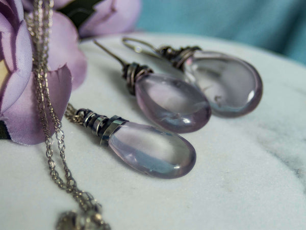 Art Deco Amethyst drop silver jewelry set
