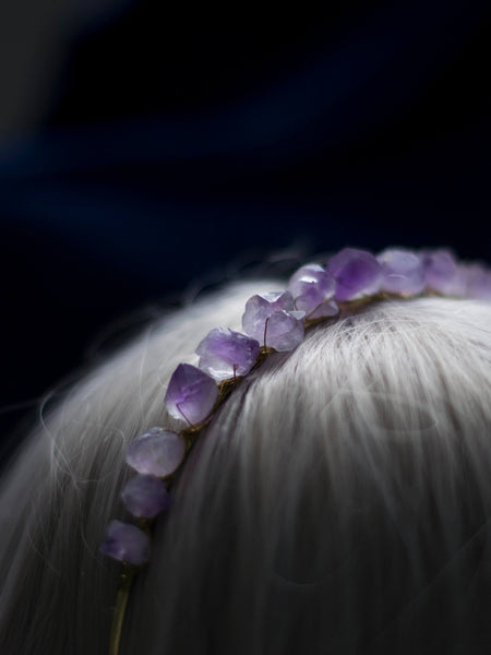 Custom made golden elegant Amethyst crown