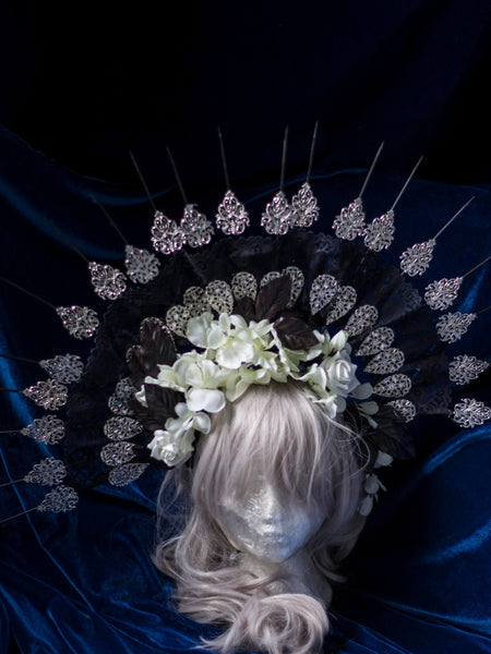 Hedea black lace halo crown with silk flowers