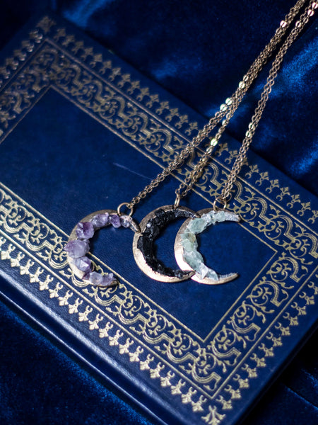 Antic Crescent moon pendant with amethyst / calcite/ black tourmaline