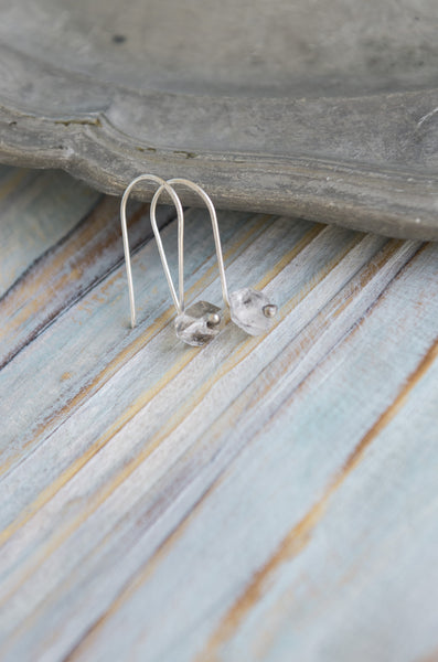 Singylarity Minimal Herkimer diamond sterling silver earrings - MoonDome - 2
