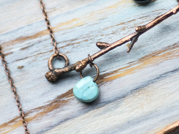 Tiny twig copper pendant with gemstone briolette - MoonDome - 6