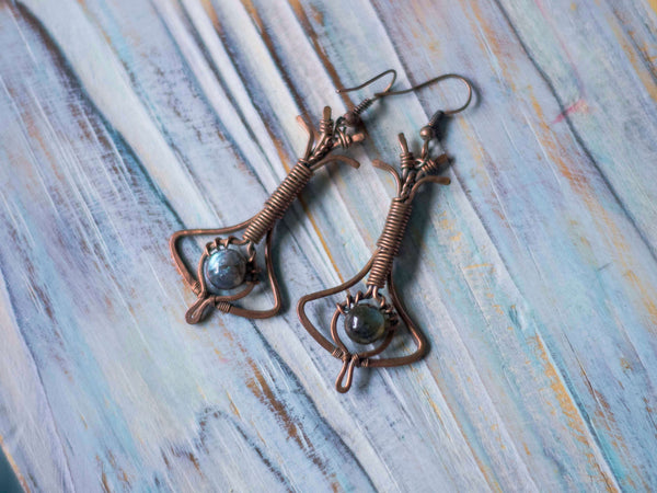 Nina Art Deco copper wire art dangle earrings