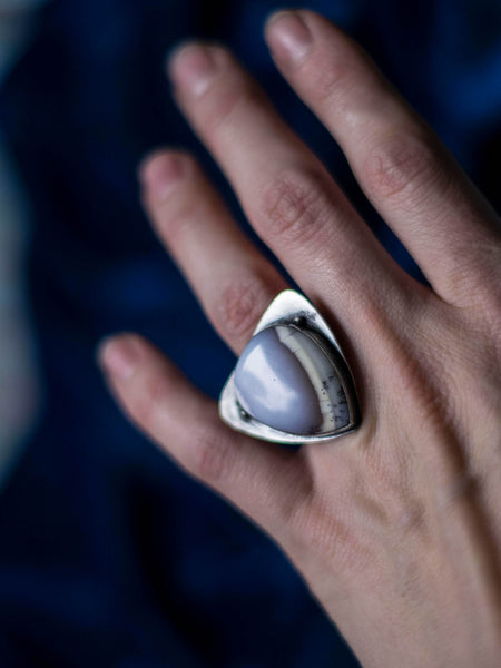 Misty ocean OOAK dendritic agate statement silver ring