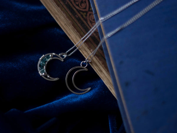 Magic moon silver pendant in pink, blue or simply silver