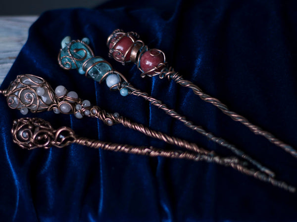 Elemental magic wands Occult Wicca Pagan Witch accessory, sacred ceremonial objects