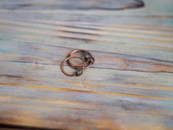 Constant minimal copper gemstone ring