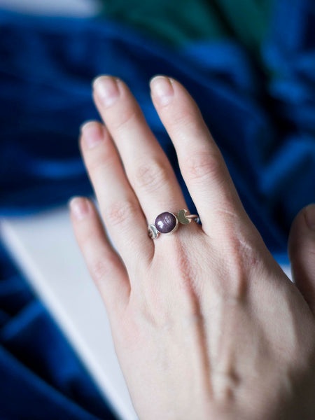Star ruby moon phase silver ring