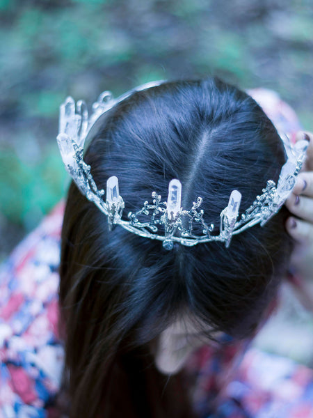 Elvee silver Full head crown with quartz points - MoonDome - 6