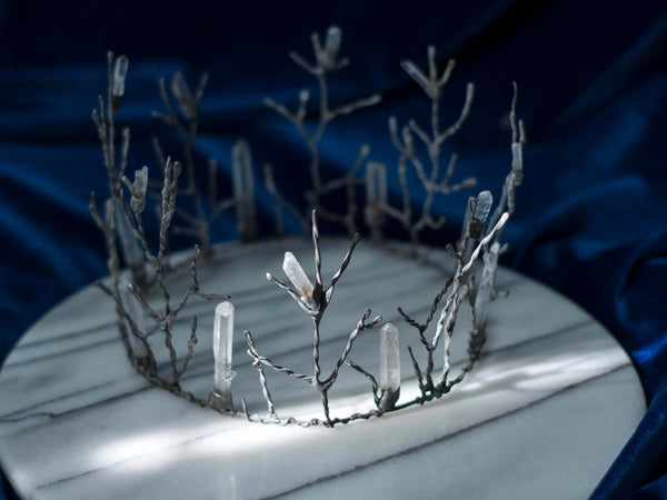 Quartz forest rustic antic silver crystal crown
