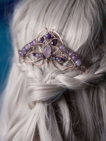 Amethyst moth copper hair comb