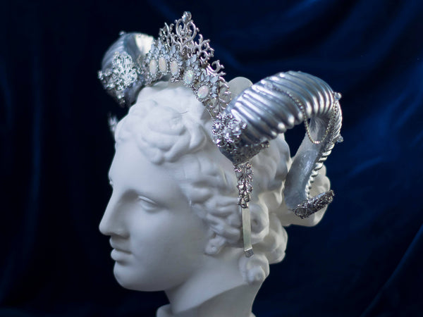 Silver Lilith horned headdress