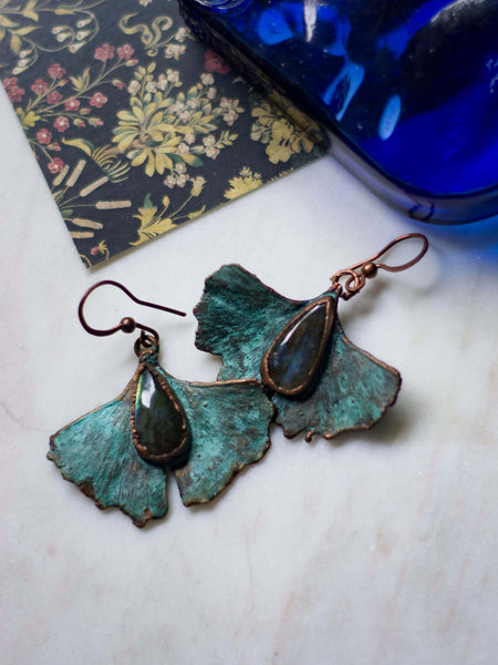 Ginkgo leaf copper earrings  with labradorite and blue patina