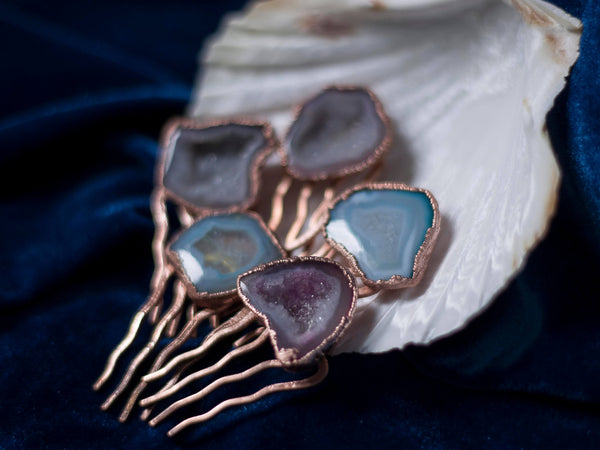 Rose gold geode crystal hair comb